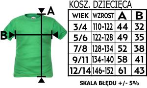 Rozmiarówka koszulka z Twoim nadrukiem