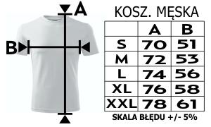 Rozmiarówka koszulki męskie z Twoim nadrukiem